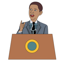 President giving a speech clipart